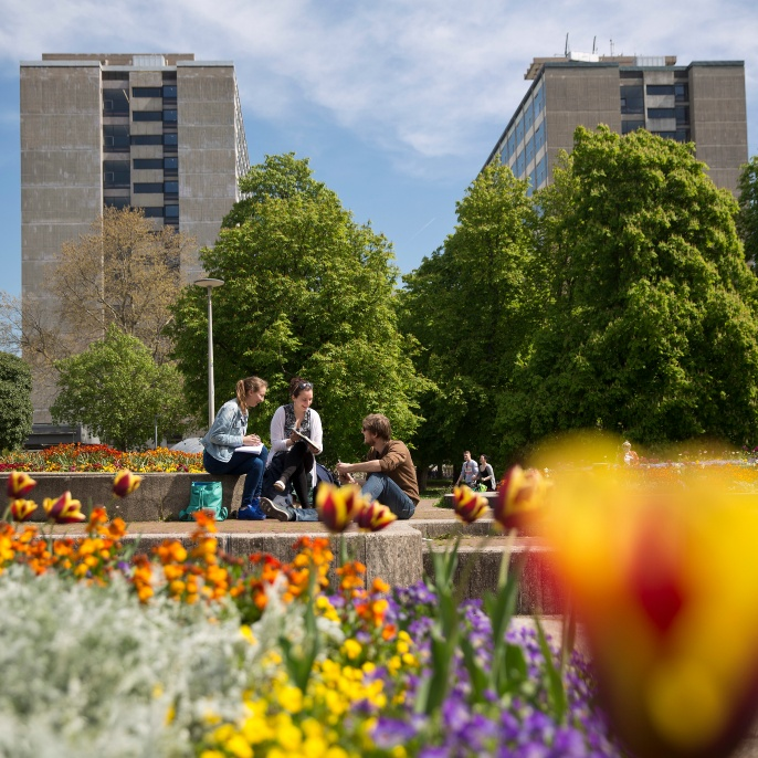 Campus Stadtmitte: The K1 and K2 buildings in spring