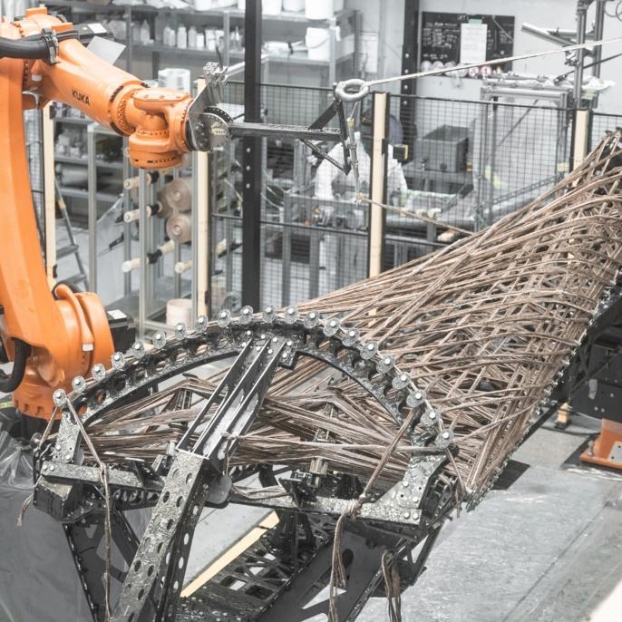 Robotically wound natural fibre construction