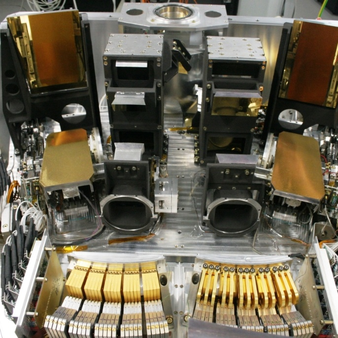 The mirror system on the inside of the University of Stuttgart's FIFI-LS (Field-Imaging Far-Infrared Line Spectrometer.