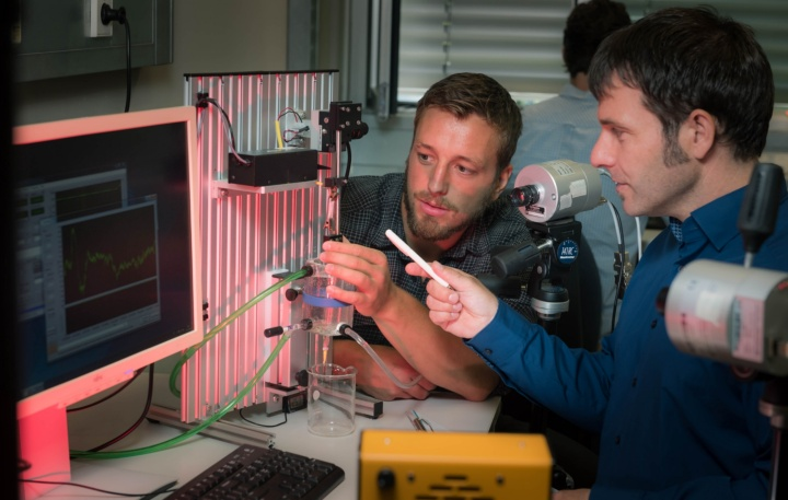 Experimentally extremely laborious: Professor Tobias Siebert (right) and his team want to show how an impulse propagates through smooth muscle tissue. (c) University of Stuttgart/Max Kovalenko