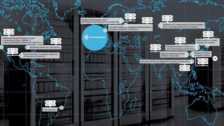 Weltkarte mit Auflistung weltweiter Zentren für computergestützte Forschung. (c) visuell.de