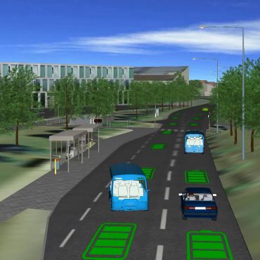 Simulation of a shuttle bus on the University of Stuttgart Vaihingen Campus