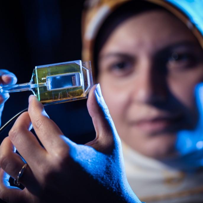 Forscherin betrachtet in Glaszellen eingeschlossene atomare Dämpfe