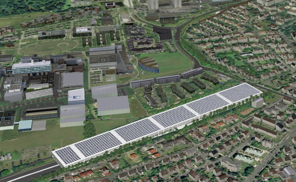 Visualization of the planned parking garage on the Vaihingen Campus