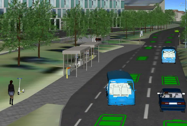 Simulation eines Shuttle-Busses.
