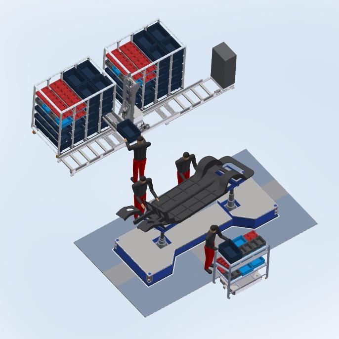 Materialbereitstellung und Montageplattform als mobile Komponenten <br />