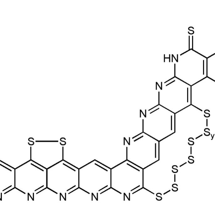 Chemische Struktur einer Lithium Schwefelbatterie-Kathode <br />