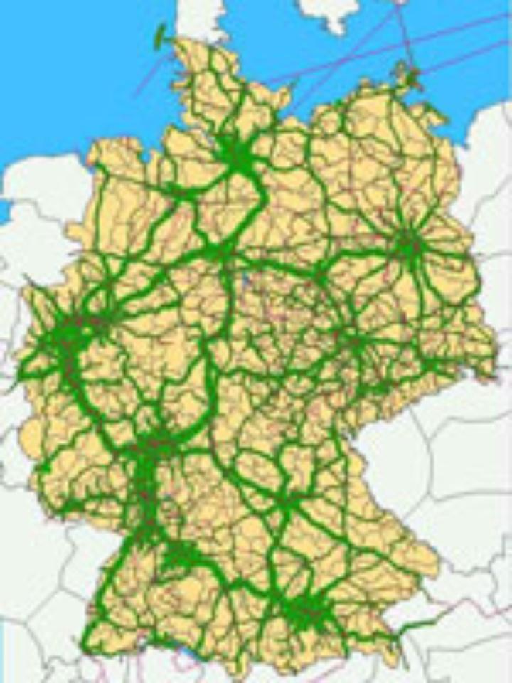 Landkarte: Verkehr in Deutschland.