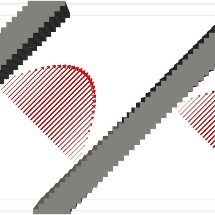 Parabolisches Poiseuille Strömungsprofil in einem geraden Kanal, der relativ zum Gitter, auf dem die Berechnungen ausgeführt werden, um 45 Grad geneigt ist. <br />