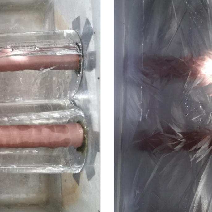 Ice growth on heat-transferring pipes (left) and ice formation in supercooled water (right) <br />