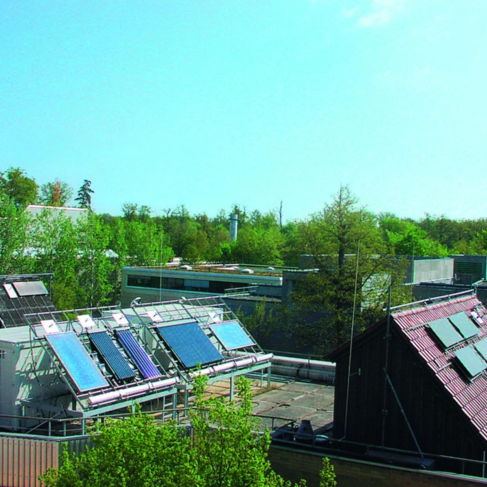 Outdoor test facilities of IGTE for solar thermal collectors and systems. <br />