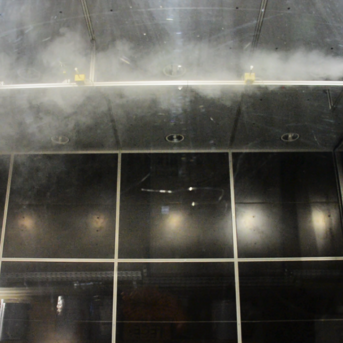 Function test of flow sensors under the flow field of a jet nozzle in the room air flow laboratory <br />