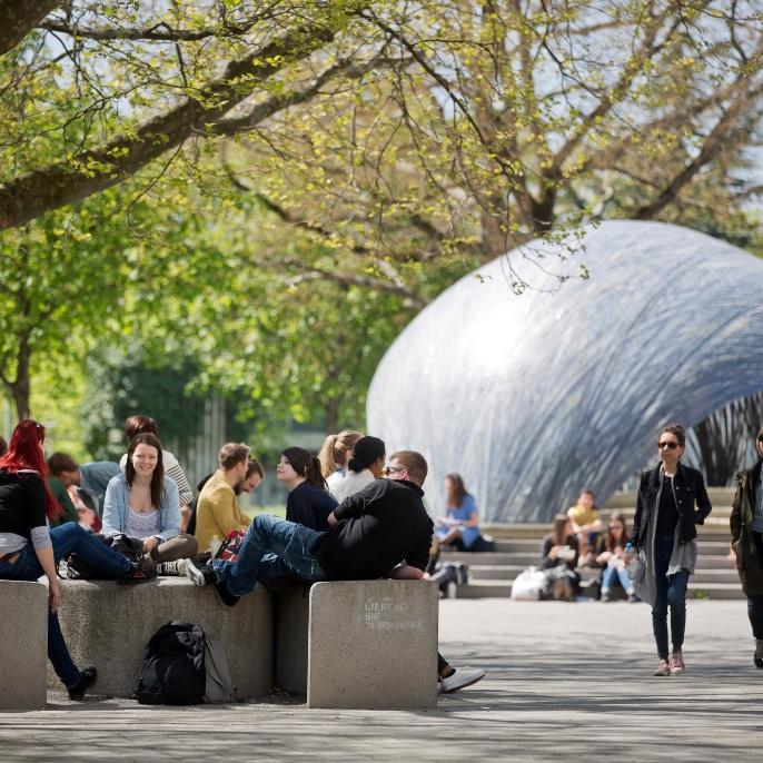 Campus Stadtmitte: Blick auf den Forschungspavillon 2014-15 der Architekturinstitute ICD und ITKE