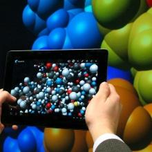Simulation eines Atoms auf der Powerwall im Visualisierungsinstitut