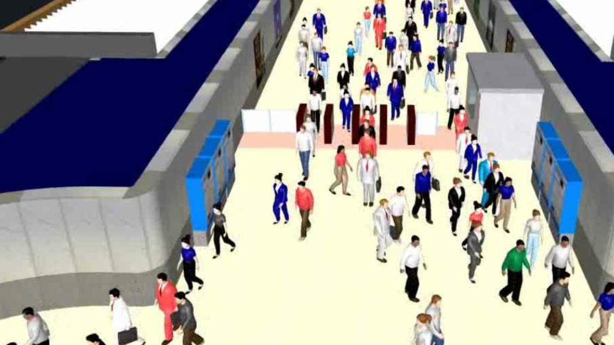 Fussgaenger Simulation  Foto: VuV (Lehrstuhl für Verkehrsplanung und Verkehrsleittechnik)