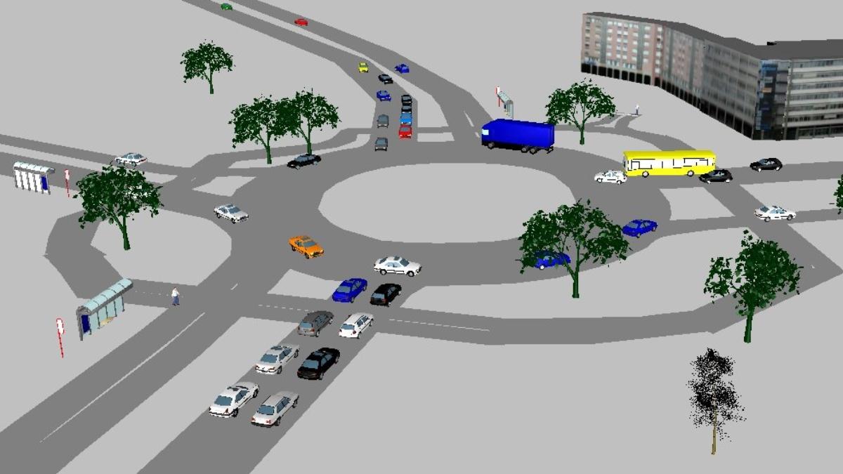 Simulation eines Kreisverkehrs  VuV (Lehrstuhl für Verkehrsplanung und Verkehrsleittechnik)