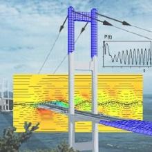 Computer-Konstruktionsbild einer Brücke mit Belastungsanzeigen.