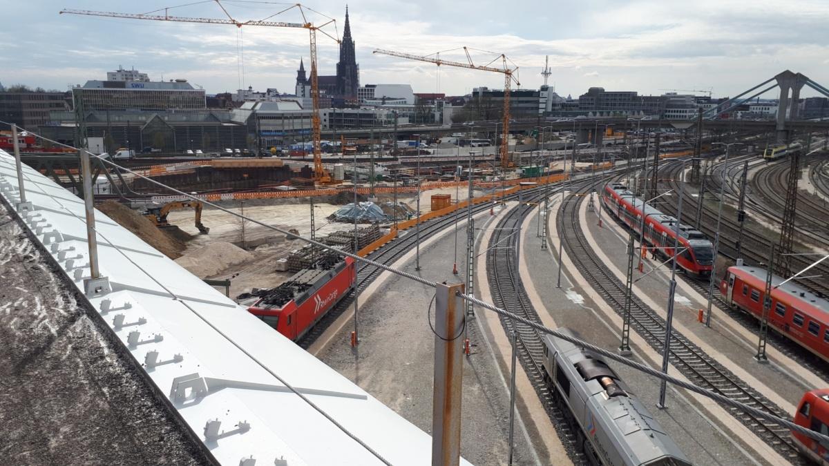 Städtebau: Baustelle des Bahnprojekts Stuttgart-Ulm. Im Rahmen des Bauprojekts wird Ulm an das Hochgeschwindigkeitsnetz angeschlossen.   Institut für Photogrammetrie