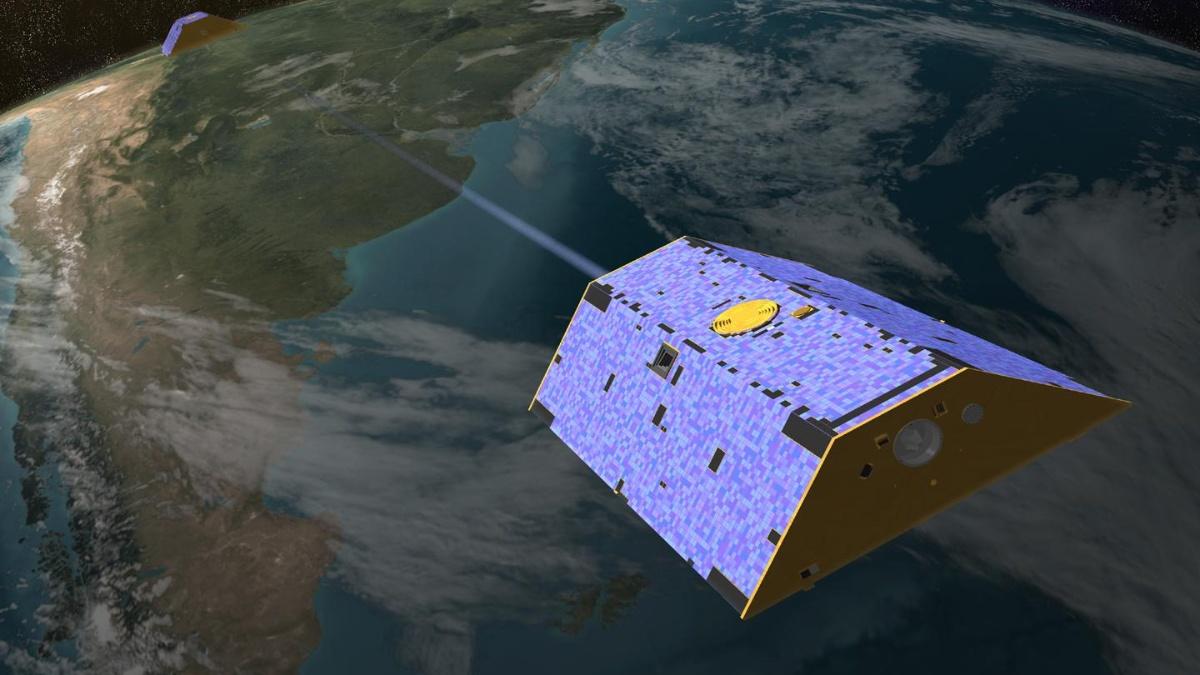Erdsystemforschung: Mit zwei Zwillingssatelliten GRACE-1 und GRACE-2 kann das Schwerefeld der Erde detailliert ermittelt werden.  NASA