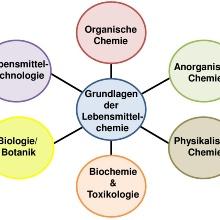 Kerndisziplinen der Lebensmittelchemie im Diagramm