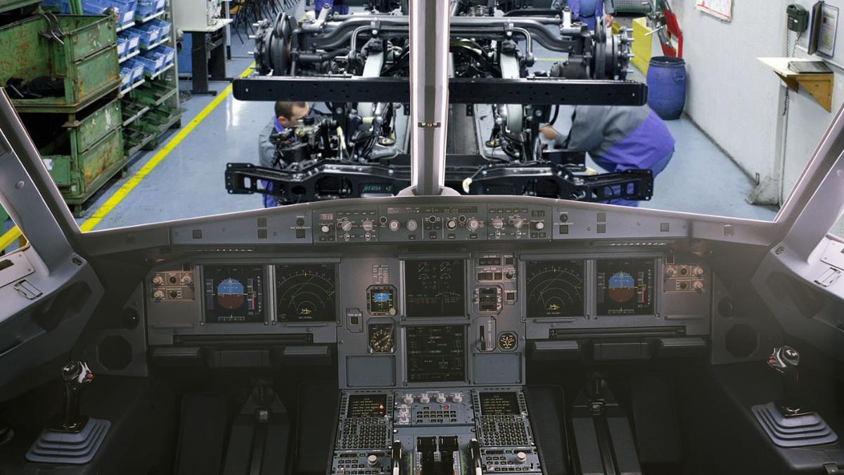 Cockpit Montage Die am IFF entwickelte echtzeitfähige Fabrik nutzt ein Cockpit als Planungsumgebung. Foto: Montage Airbus/IFF Foto: Institut für Industrielle Fertigung und Fabrikbetrieb (IFF)