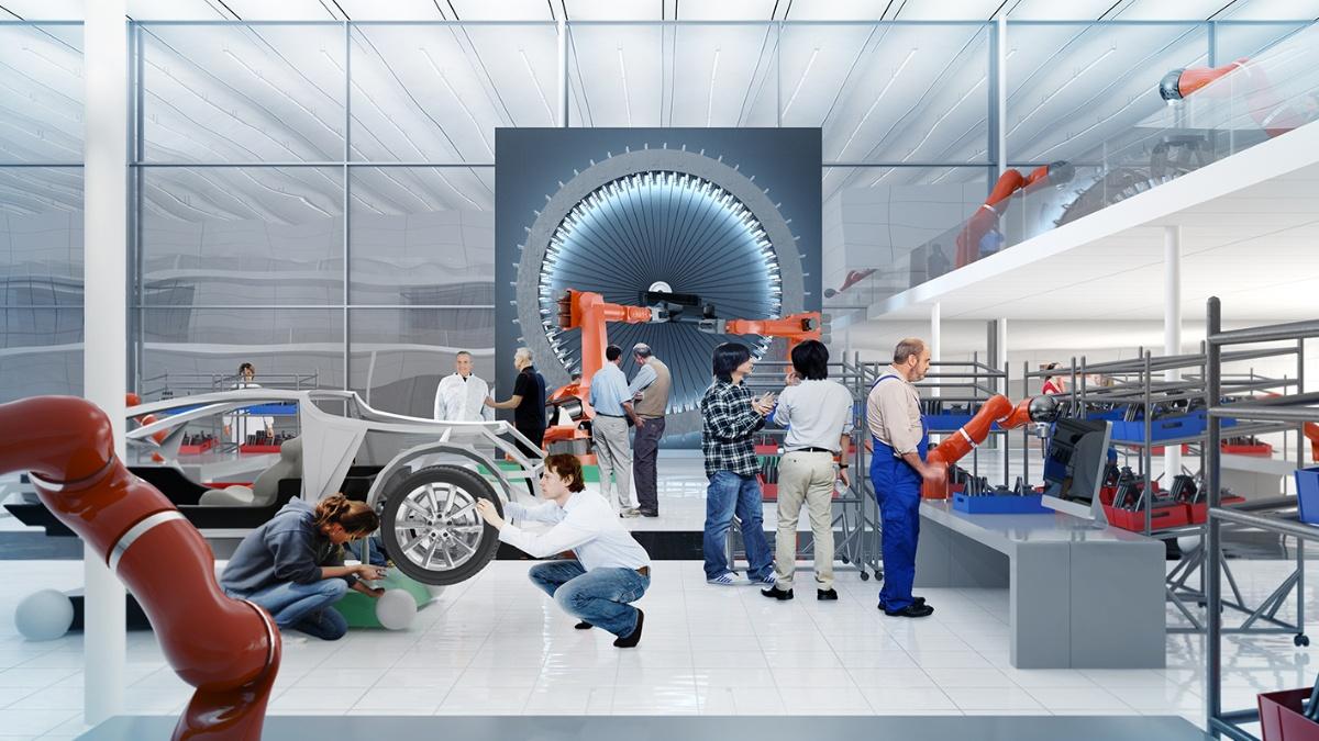 kleinARENA Der Automobilbau der Zukunft ist entkoppelt von Band und Takt. © ARENA2036 Foto: Institut für Industrielle Fertigung und Fabrikbetrieb (IFF)