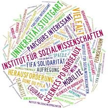 Wortwolke mit Assoziationen der Sozialwissenschaften an der Universität Stuttgart