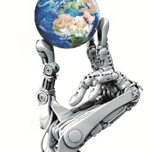 Die Hand eines Roboters hält die Weltkugel zwischen Mittelfinger und Daumen nach oben.