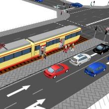 Ausschnitt aus einer Computersimulation: mehrspurige Straßenkreuzung mit Straßenbahn ISV-VuV
