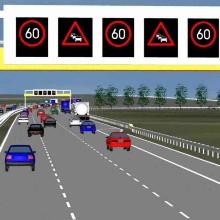 Ausschnitt aus einer Computersimulation: Autobahn mit elektronischer Verkehrsbeeinflussungsanlage (Leuchtschilder mit Tempolimit) ISV-VuV