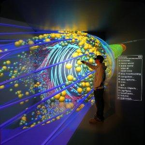 Virtual Reality Visualisierung eines Drallabscheiders eines Wasserkraftwerks in der CAVE des HLRS im Rahmen des EU-Projektes VisionAir.