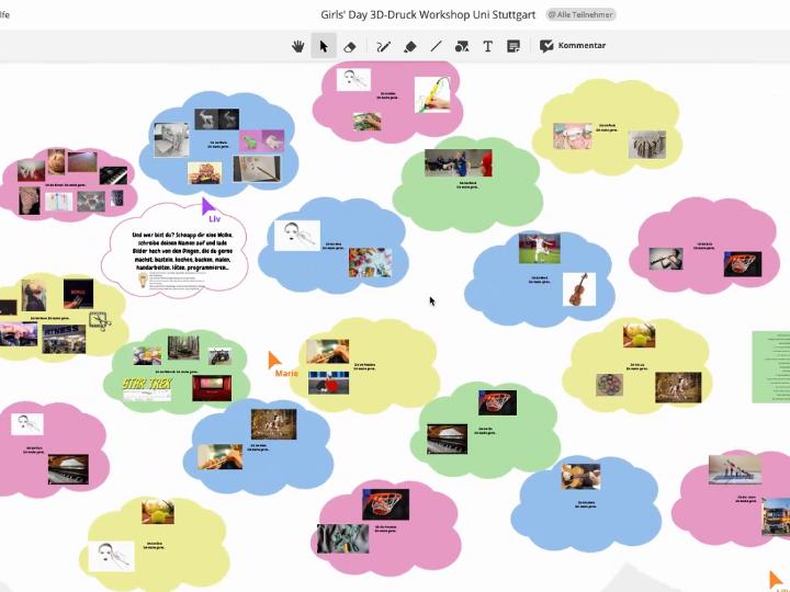 Screenshot des Workshopboards, mit dem die Schülerinnen arbeiten.