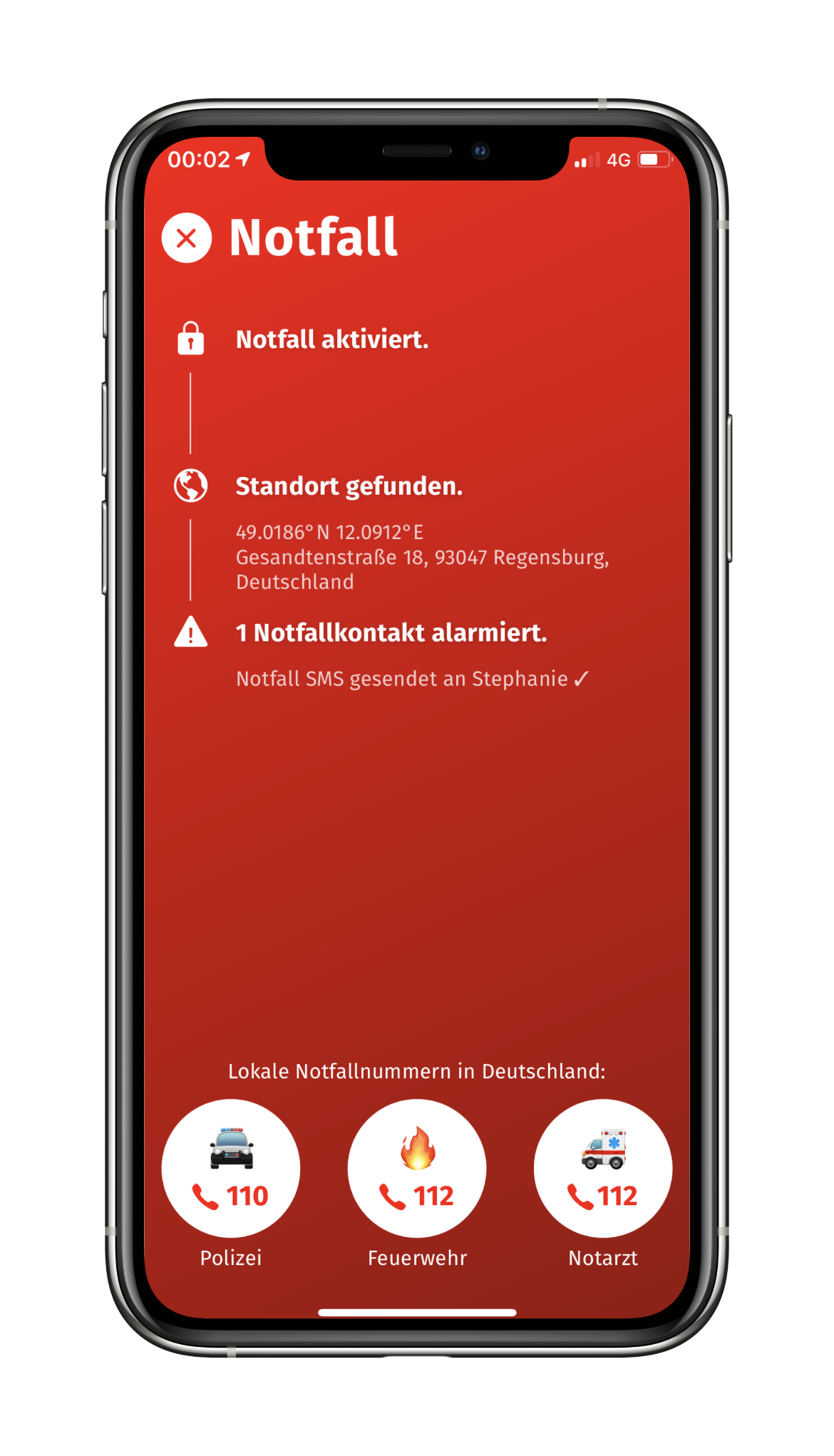 Screenshot of the emergency screen of the KommGutHeim app.