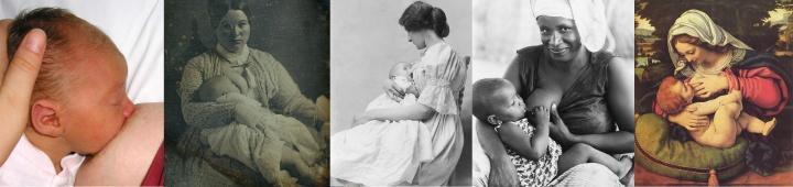 Symbolbilder von stillenden Frauen.