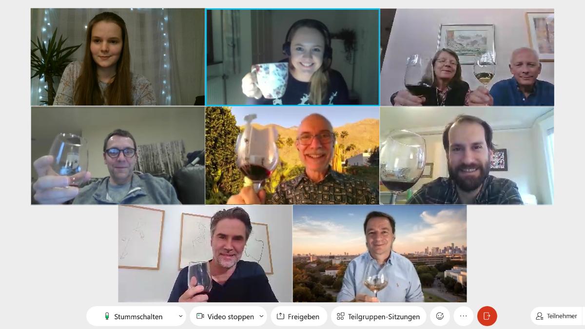 Screenshot aller Teilnehmer*innen der virtuellen Weinprobe.