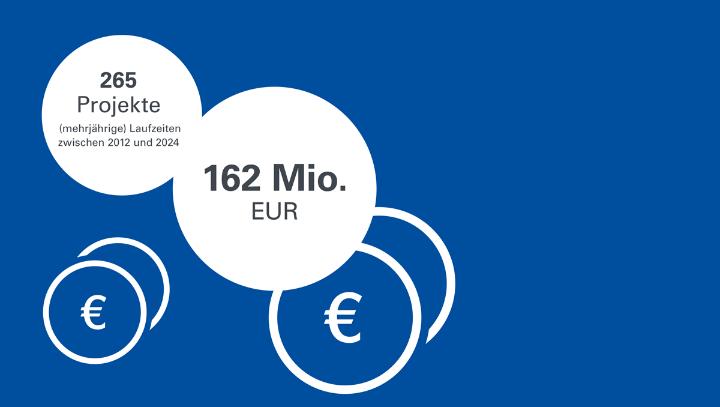 265 Projekte zwischen 2012 und 2024 für 162 Millionen Euro