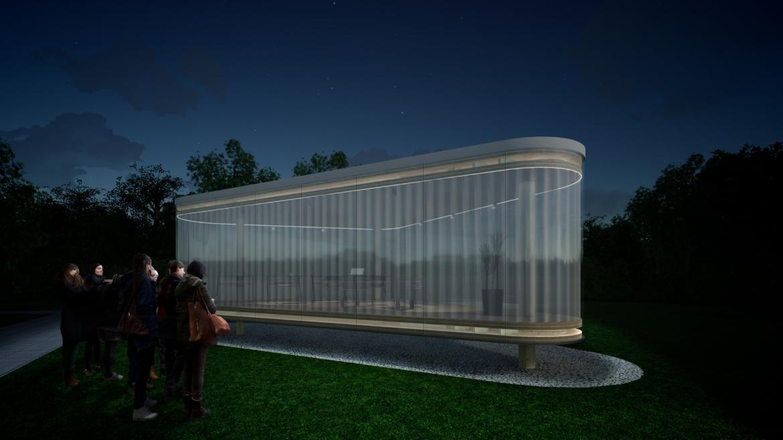Visualisierung eines verglasten Holzpavillons. Er steht auf drei Stützen.