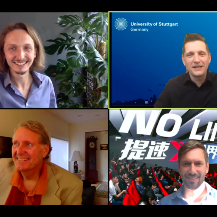 Am 6. Juli sprachen bei der 2. Speaker Series (im Uhrzeigersinn von oben links): Konrad Wenzel, Alexander Brem von der Universität Stuttgart, Philipp Gneiting und Jeff Burton.