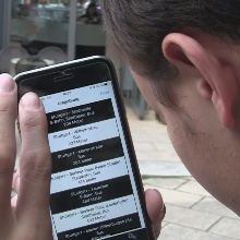 Person with visual impairment tests the barrier-free app.