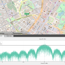 Students simulate inner-city navigation scenarios in the laboratory using the Skydel software.