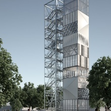 The adaptive structural elements are currently being researched in practice in a demonstration building. The adaptive high-rise building, which is approx. 37 meters high, is located on the campus of the University of Stuttgart.