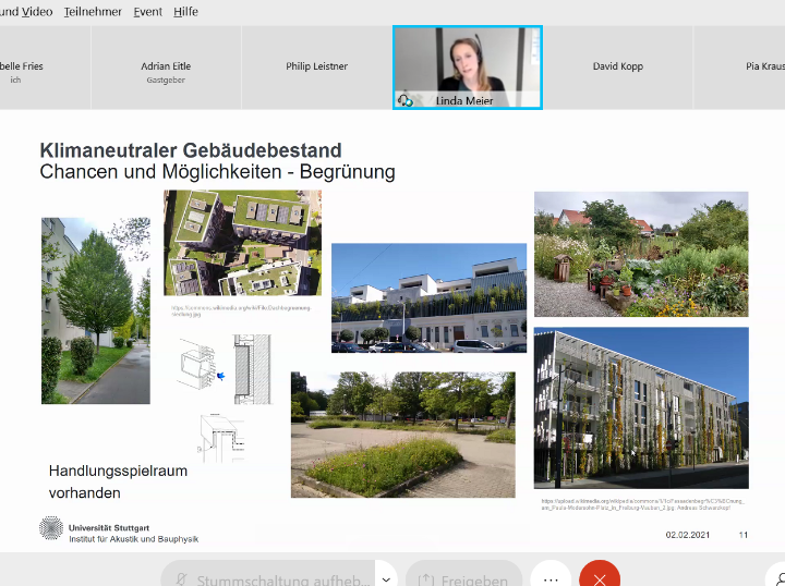 Screenshot from the event. Various greening examples are shown.