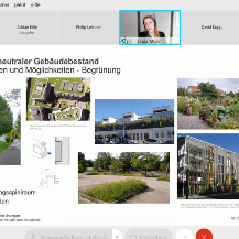 Room for maneuver in greening: The picture below in the center shows the parking lot Pfaffenwaldring 7 on the Vaihingen campus. Due to the greening, even wild bees could be observed here. Screenshot from the presentation by Linda Meier