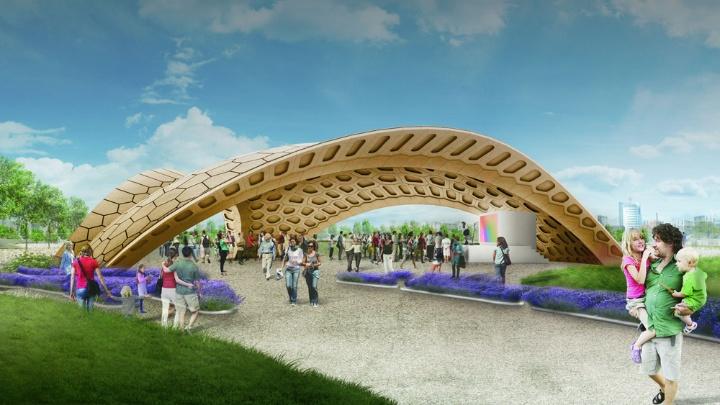 Bionic wooden pavilion