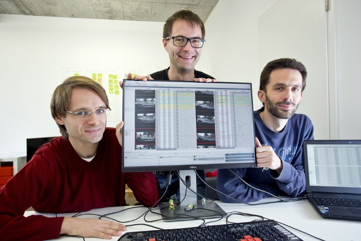 The founders of Blickshift  Dr. Michael Wörner, Dr. Michael Raschke, Dr. Bernhard Schmitz (from left). (c) University of Stuttgart/Uli Regenscheit