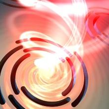 Symbolbild der Wechselwirkung von Licht mit einer Goldoberfläche mit 4-fach symmetrischen Archimedischen Spiralen.