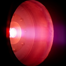 Plasma flow of the inductive plasma thruster in operation with N2.