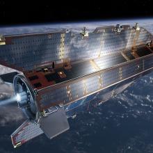 Press release 27: Im Projekt DISCOVERER werden neue Technologien für erdnahe Satelliten entwickelt, wie es zum Beispiel der ESA-Satellit GOCE war. (Künstlerische Darstellung) Copyright: © ESA–AOES-Medialab