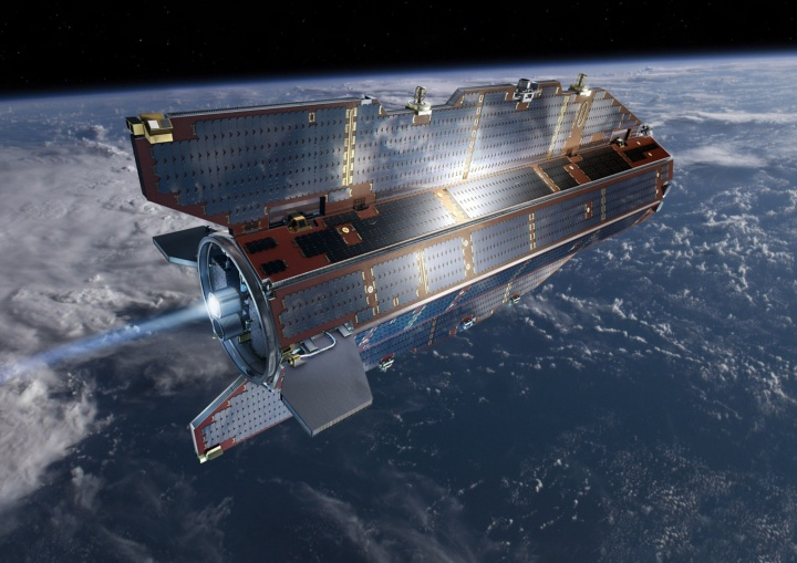 The DISCOVERER project aims to develop new technologies for low altitude satellites. One example of this type of satellite is ESA's GOCE. (Artistic rendering, © ESA–AOES-Medialab) (c) © ESA–AOES-Medialab