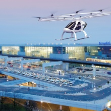 Illustration of a Volocopter at Frankfurt Airport.